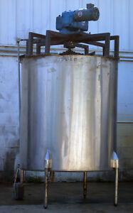 600 Gallon Large Stainless Steel Mixing Tank With Motor And Agitator Blades