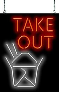 Take Out With Box Graphic Neon Sign Jantec 3 Sizes To Go Free Shipping