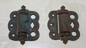 Pair Vintage Cast Iron Screen Door Hinges Spring Loaded Original Green Paint