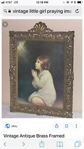 Vintage Brass Framed Italian Famous Child Picture By Samuel Bubble Glass
