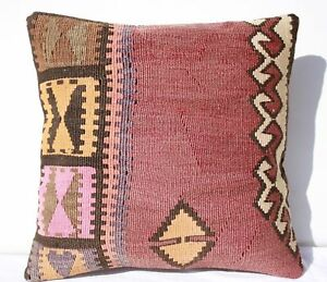 Turkish Kilim Rug Pillow Cushion Cover Hand Woven Wool 16 X 16