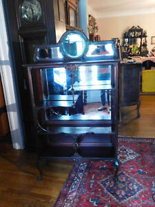 Tall Victorian Carved Dark Mahogany Etagere With Beveled Mirrors 60 1 4 H