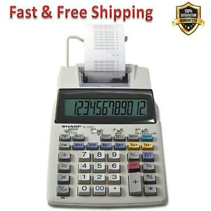 Printing Calculator 12 Digit Lcd Display Punctuation Compact Desktop 2 Color New