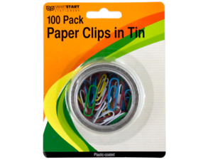 Paper Clips Plastic Colored Coated In Round Tin Metal Office Supplies 24 Packs