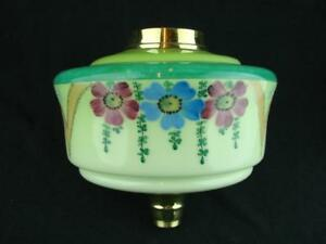 Gorgeous Antique Two Tone Green Glass Oil Lamp Font Enammeled Floral Decoration