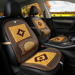 Natural Wood Wooden Beaded Seat Cover Massage Cool Car Cushion Chair Cover New