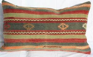 Turkish Kilim Rug Lumbar Pillow Cushion Cover Hand Woven Wool 27 X 16