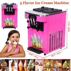 Commercial 3 Flavor Soft Ice Cream Maker Frozen Yogurt Machine 18l h Lcd Display