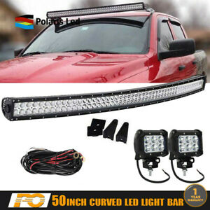 Roof 52 Curved Led Light Bar Combo Kit For 2009 2014 Dodge Ram 1500 2500 3500