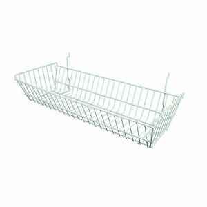 Slatwall Basket Double Sloping 24 L X 10 D X 5 H White 6 Pieces