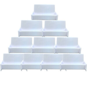 10pcs White Acrylic Business Card Holder Display Stand For Office Desk