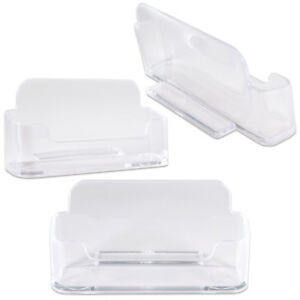 3pcs Clear Acrylic Business Card Holder Display Stand Desktop Countertop