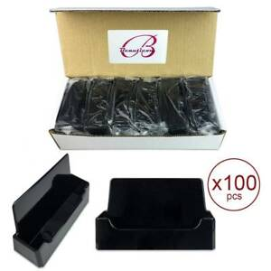 100pcs Black Acrylic Compartment Desktop Business Card Holder Display Stand