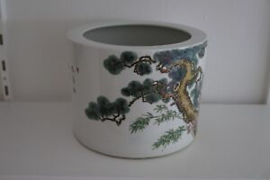 Chinese Qianlong Mark And Possibly Period Large Pot With Poem