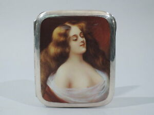 Antique Cigarette Case Alluring Lorelei European 935 Silver Enamel