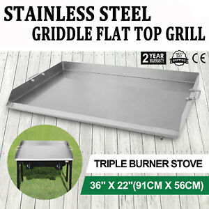 36 X 22 Stainless Steel Griddle Flat Top Grill Plancha Pan For Triple Burner