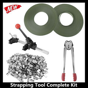Strapping Tool Complete Kit Metal Seals Poly Strap Banding Roll Supply Kit T