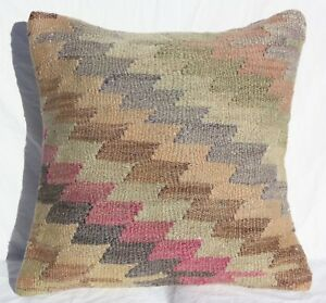 Turkish Kilim Rug Pillow Cushion Cover Hand Woven Wool 16 X 16 Antique Kilim
