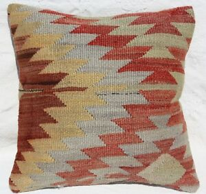 Antique Turkish Kilim Pillow 16x16 Kilim Rug Cushion Cover 16x16