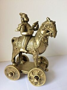 Antique Indian Bronze Worrier Rider On Horse On Wheel Temple Toy