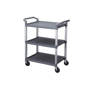 3 Tier Utility Cart Heavy Duty Rolling Service Cart Grey Bus Cart 350 Lbs