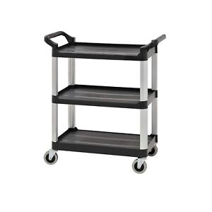 3 Tier Utility Cart Heavy Duty Rolling Service Cart Black Bus Cart 350 Lbs