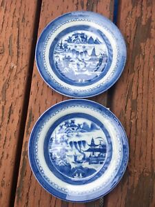 A Pair Of Antique Chinese Blue And White Porcelain Plates
