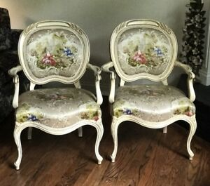 Pair Of Vintage Hollywood Regency Armchairs French Style