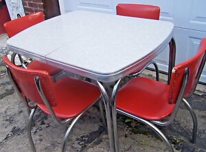 Vintage Formica Table Cracked Ice Gray White W Leaf 4 Vintage Chairs