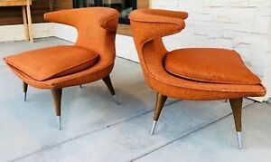 Pair Karpen Of California Horn Chairs In Original Orange Upholstery Excellent