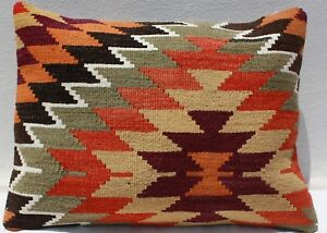 Turkish Kilim Rug Lumbar Pillow Cushion Cover Hand Woven Wool 25 X 19