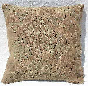 Turkish Kilim Rug Pillow Cushion Cover Wool 16 X 16 Antique Geometric Kilim
