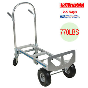 Cart Folding Dolly Push Truck Hand Collapsible Trolley Luggage Aluminium 770 Lbs