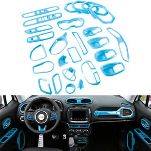 Light Blue Interior Accessory Decoration Trim Kit For 2015 2018 Jeep Renegade y