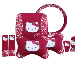 8pcs Hello Kitty Car Steering Wheel Cover Universal Interior Accessories Red