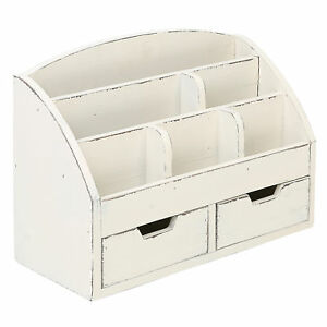Vintage White Wood Desk Organizer 6 Compartment 2 Drawer Office Supplies Cabinet