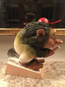 Large Henning Of Norway Hand Carved Troll With Skis Broom Wood Figurine 7 Inches