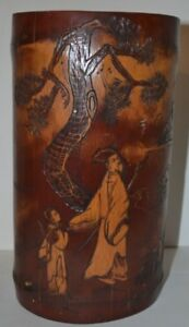 Fine Large Antique Chinese Carved Bamboo Brush Pot