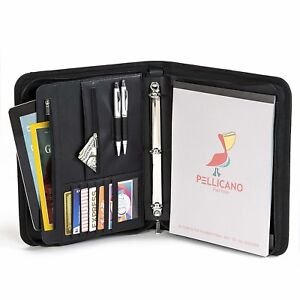 Original Pu Leather Professional Portfolio Organizer Writing Pad 3 Ring Binder