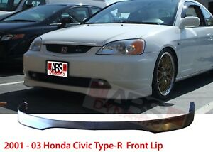 Type R Style Front Lip For 2001 03 Honda Civic 2 4dr Unpainted Polyproplyene