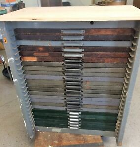 Letterpress Oak Type Cabinet With 24 Mixed Wood Drawers