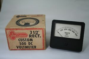 Vintage Phaostron 500 Dc Voltmeter Nos W hardware And Box