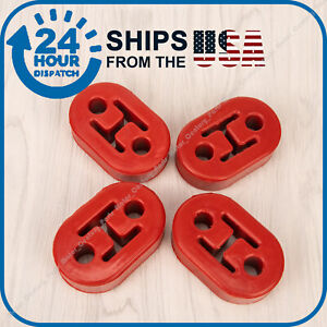 4 Heavy Duty Rubber Exhaust Tail Pipe Mount Bracket Hanger Bushing Insulator Red