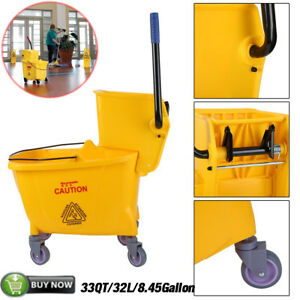 Rolling Mini Side Press Mop Bucket With Wringer 33qt 8 45 Gallons 32l Yellow T