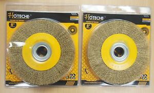 2pc 8 Crimped Wire Wheel Brush 1 Thick Deburring Bench Grinder