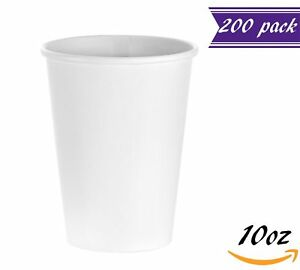 200 Count 10 Oz White Paper Hot Cups Disposable Coffee Cups By Tezzorio