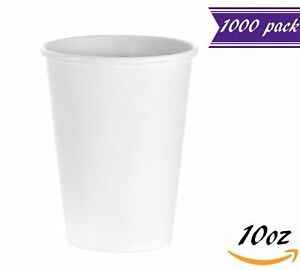 1000 Count 10 Oz White Paper Hot Cups Disposable Coffee Cups By Tezzorio