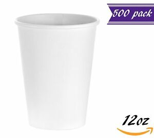 500 Count 12 Oz White Paper Hot Cups Disposable Coffee Cups By Tezzorio