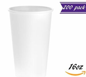 200 Count 16 Oz White Paper Hot Cups Disposable Coffee Cups By Tezzorio
