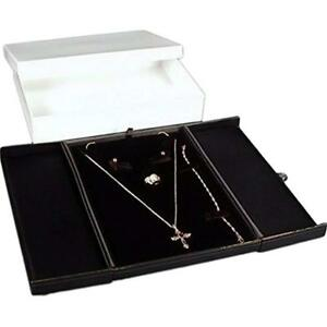 Black Jewelry Boxes Earring Ring Necklace Bracelet Combo With Gift Display